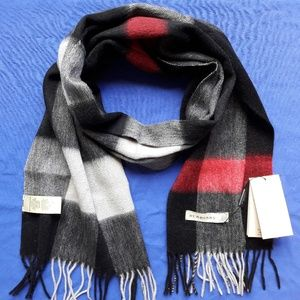 BURBERRY WOMEN`S SCARF DARK GRAY RED %100 CASHMERE